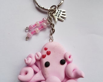 Pink octopus with hearts keyring