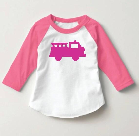 cc01f9329ec Pink Raglan Firetruck Toddler Shirt Kids Firetruck Shirt