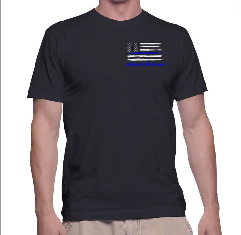 d32d1f76 United We Stand Thin Blue Line Distressed American Flag Shirt   Etsy