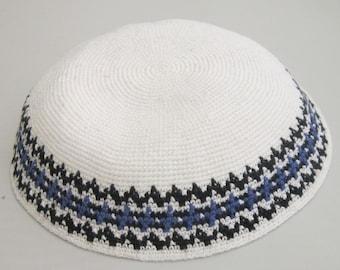 White Kippah 18cm Jewish head covering from Jerusalem Kipa Hand Knit Yamaka Kippot DMC Kippot Judaica crochet Yarmulkah Menorah כיפה JUIF