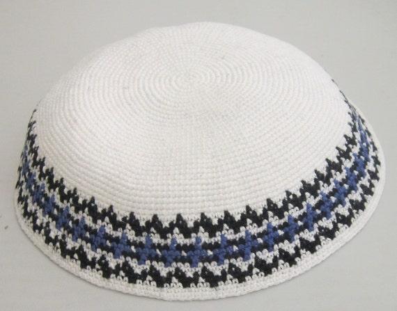 All sizes Knitted Handmade Sabbat White Kippa Kipot Shabbat Yamaka Knit Jewish