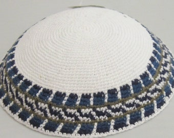 Kippah 16cm Jewish Head covering from Jerusalem yamaka Amazing yarmulke handmade Kniited Jewish Blues Greys Kippah Kipah Yamaka