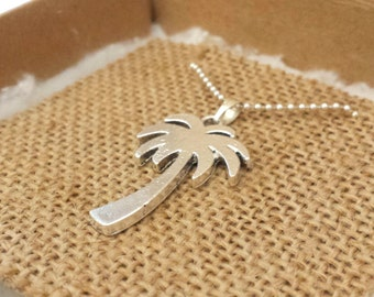 Palmtree necklace - Silver plated ballchain with palmtree pendant