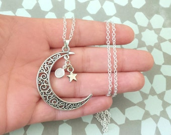 Crescent moon necklace - Silver plated necklace with crescent moon pendant with star and tiny white faceted charm