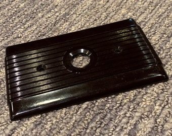 Vintage Hubbell Round Button Switch Plate Dark Brown Plastic Art Deco 1940s Mint Condition