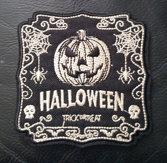 Embroidery Applique Patch Badge Trick Or Treat Halloween Pumpkin Boy Iron On
