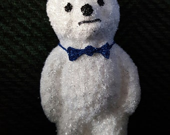 Blown Glass Fluffy White Teddy Bear + Blue Bow Christmas Tree Ornament Decoration or Bauble
