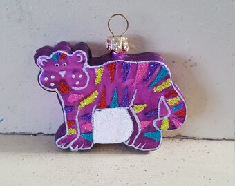 Blown Glass Purple Tiger Christmas Tree Ornament Decoration or Bauble