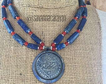 Afghanistan Lapis Silver Engraved Pendant Necklace Carnelian Beads
