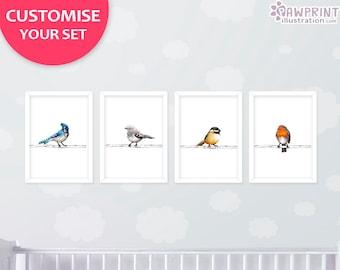 Set Of 4 Bird Prints