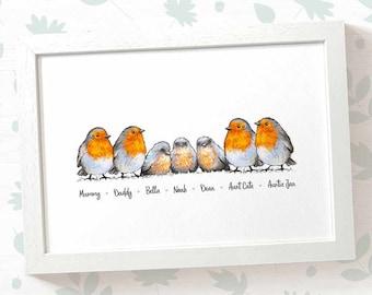 Robin Family Names Print - Robin family print, Robin gift for family name sign, baby name print robin birthday gift for mum