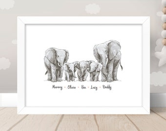 Elephant Family Mom and Five Baby Watercolor Print Quote Art Print For Mother
