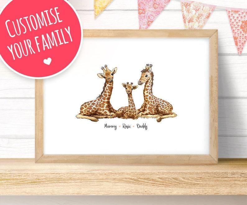 Giraffe Family Names Custom Print  Giraffe family print image 0