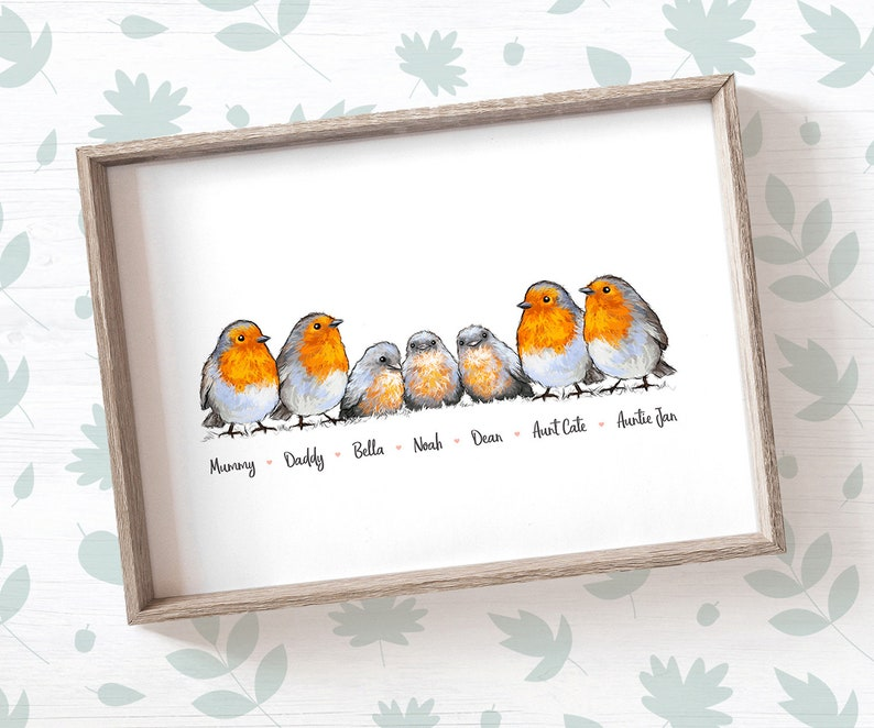 Robin Family Names Print  Robin family print Robin gift for image 0