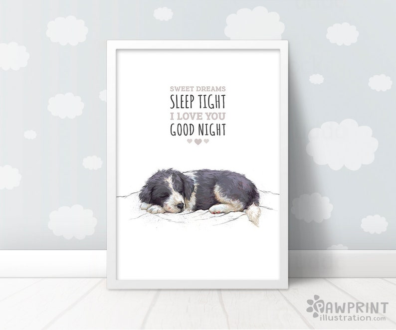 aa2465c42 Border Collie Puppy Nursery Decor Sweet dreams sleep tight | Etsy