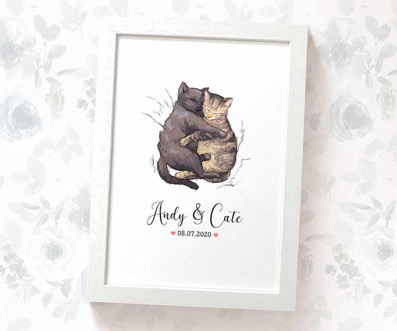 Cat Wedding Gift Art Print  Cuddling Cats fiance gift image 0