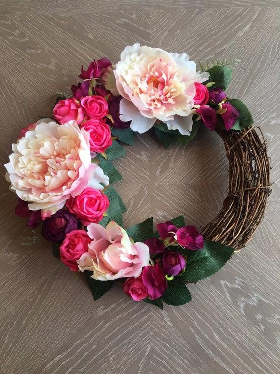 Fuschia Artificial Floral Wreath Pink Silk Floral Wreath Etsy