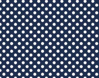 Navy Small Dot Fabric by Riley Blake
