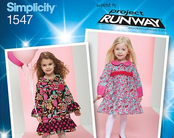 Simplicity 1547 Toddler and Childs Project Runway Dresses. Size 1/2 - 3. Pattern is new and uncut.