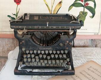 Vintage typewriter - Underwood typewriter - Old typewriter - Antique typewriter - Old fashioned steampunk retro manual used writing machine