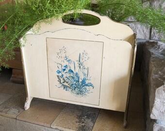 Vintage wooden magazine rack mid century, French antique newspaper holder flower print