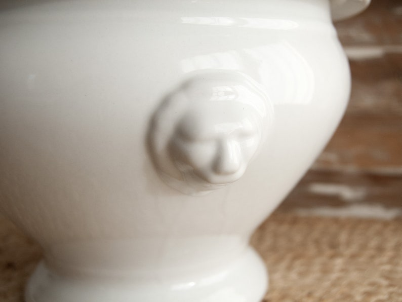 Rustic dinnerware Soup tureen white ironstone French country decor Large ceramic bowl