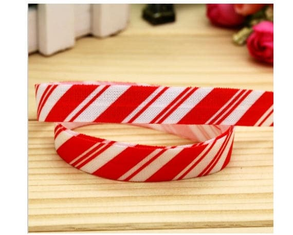 10 yards Christmas Red White Candy Cane striped foldover elastic FOE headband