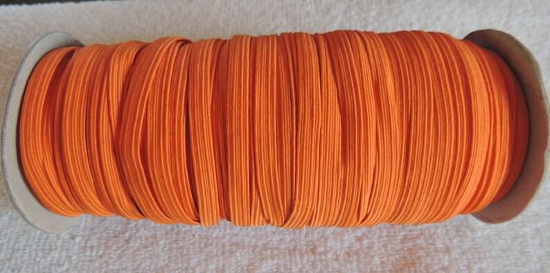Solid  14 Skinny Elastic 3 or 5 Yards Orange