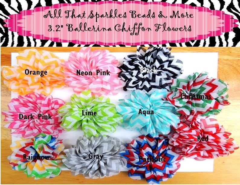 Ciffon Flower Hair accessories supplies Chevron Hair clips 2 pcs 3.2 Chevron Ballerina Shabby Flower