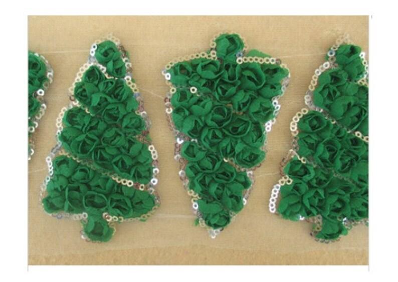 4 or 6 Green Rosette Shabby Christmas Tree Trim 2
