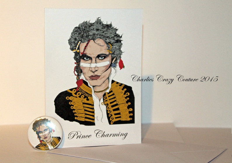 Prince Charming card and badge Adam Ant