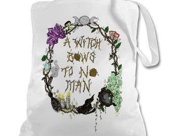 A Witch Bows to no man Tote bag /Pagan Witch wicca spiritual witchcraft bag
