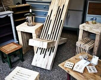 Sculptural Garden / Patio Chair made from reclaimed pallet wood.