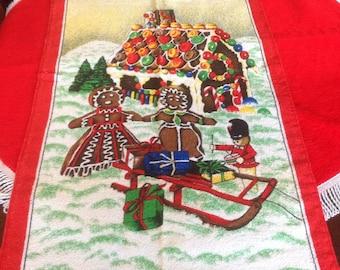 Vintage Christmas Bath Towel, Vintage Gingerbread man Towel, Vintage Textiles, Christmas Towel, Vintage Holiday Bath Towel,