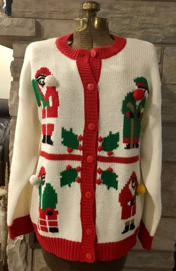 Vintage Christmas Sweater Cardigan, vintage Christ