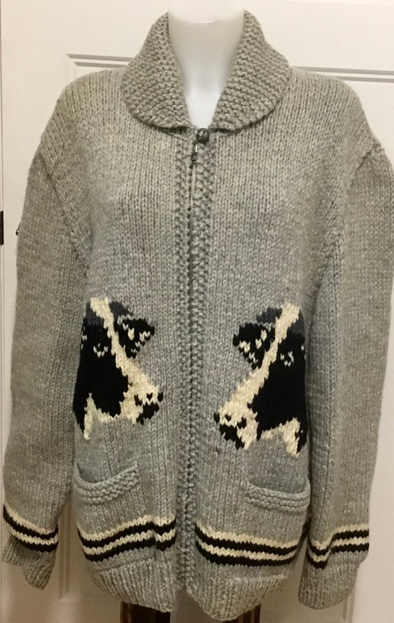Vintage Cowichan Cow Sweater, Mid Century Cowichan