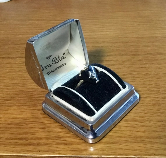 Art Deco Chrome Ring Box, Vintage Ring Box, Vintag