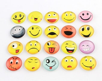10 Emoji Faces Mixed Design Round Glass Cabochons 12mm (059)