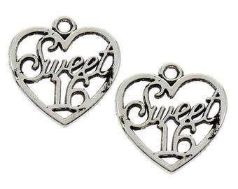 10 Sweet 16 Heart Antique Silver Charms Pendants 19mm x 21mm (112)