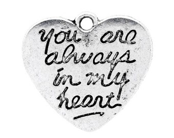 10 Always In My Heart Love Antique Silver Charms Pendants 22mm x 20mm (564)