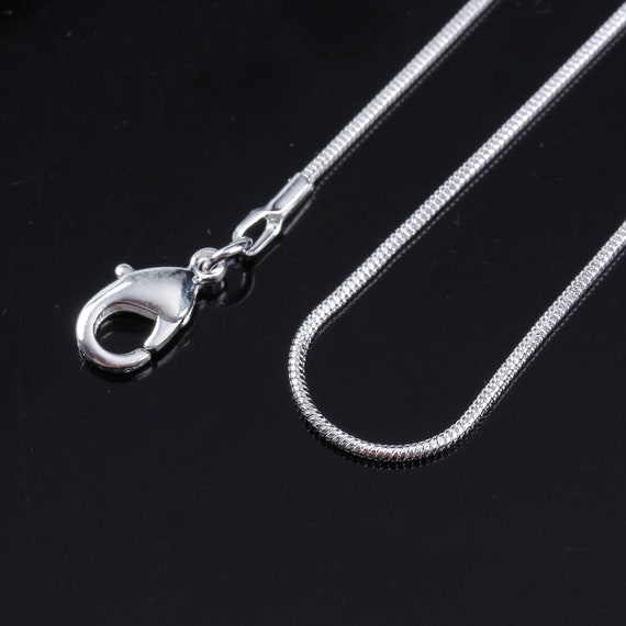 """10 x SILVER PLATED SNAKE CHAIN NECKLACE LOBSTER CLASP For Charm beads 18/"""""""