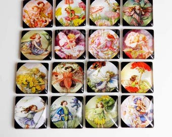 10 Fairies Faeries Pixies Square Glass Cabochons 25mm x 25mm Flat Back (068)