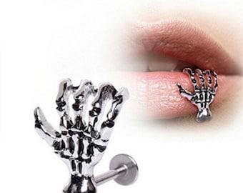 Skeleton Hand Silver Stainless Steel Lip Ring Body Piercing (J616)