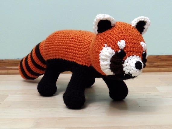 Large Crochet Red Panda Plush Pandir Etsy