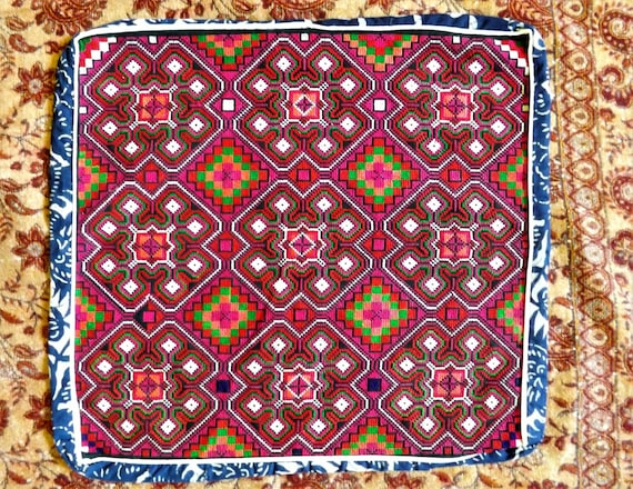 Embroidery Hmong Embroidery Cushion Cover Handmade Embroidered Etsy