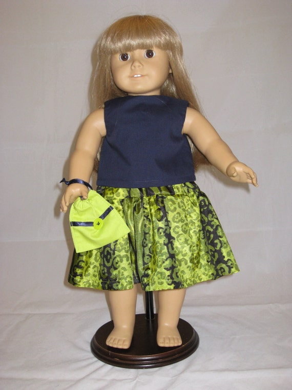 "Lime green shorts set 18/"" doll clothing fits American Girl"