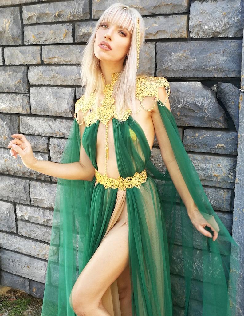 dbcc4c721e957 FAIRYTALE ELVIN PRINCESS Costume Fantasy Fairy Medieval Queen Renaissance  Dress Elf Sheer Armor Halloween Fantasy Cosplay Game of Thrones