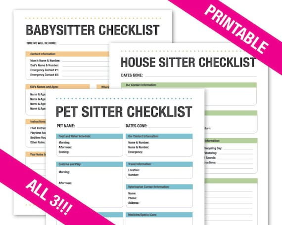 babysitter checklist house sitter checklist pet sitter etsy
