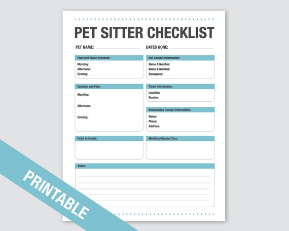 pet sitter checklist printable pets dog cat checklist etsy