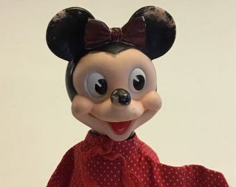 Vintage Minnie Mouse Hand Puppet Walt Disney Products and Gund Manufacturing Company 1960's